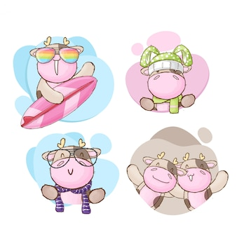 Cute baby krowa kreskówka kolekcja ręcznie rysowane styl