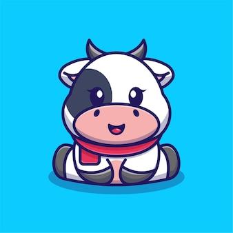 Cute baby krowa siedzi ilustracja kreskówka