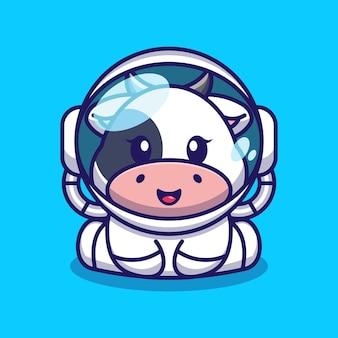 Cute baby krowa ubrana w kostium astronauty z kreskówki