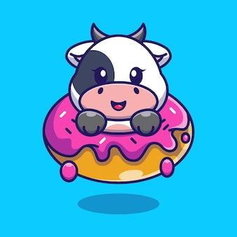 Cute baby krowa z kreskówki pączek