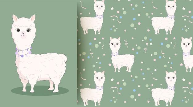 Cute baby lamy zwierząt na zielony wzór