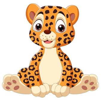 Cute baby leopard cartoon siedzi
