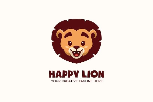 Cute baby lion head maskotka logo szablon