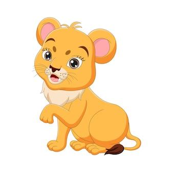 Cute baby lwica kreskówka na białym tle