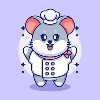 Cute baby mouse cartoon chef
