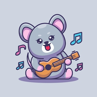 Cute baby mouse gra na gitarze kreskówka