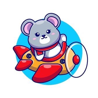 Cute baby mouse jazdy samolotem kreskówka