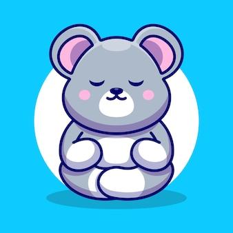 Cute baby mouse kreskówka medytacji