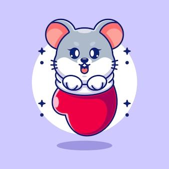Cute baby mouse w rękawiczce kreskówki