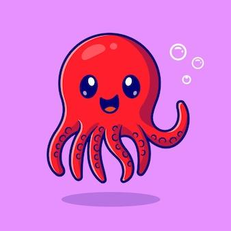 Cute baby octopus kreskówka wektor ikona ilustracja. zwierzęca natura ikona koncepcja białym tle premium wektor. płaski styl kreskówki