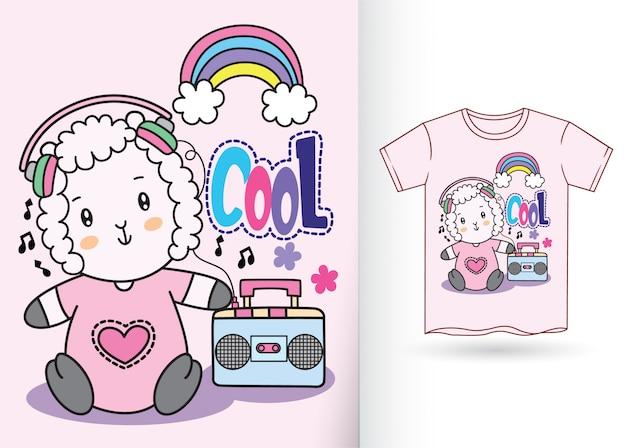 Cute baby owiec ręcznie rysowane na t shirt