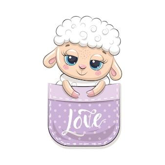 Cute baby owiec w kieszeni. ilustracja na chrzciny, kartkę z życzeniami, zaproszenie na przyjęcie, nadruk koszulki z modnymi ubraniami.