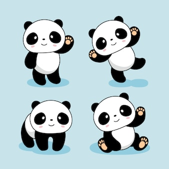 Cute baby panda cartoon animals