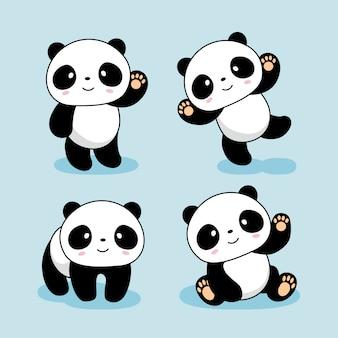 Cute baby panda cartoon animals