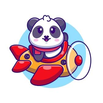 Cute baby panda jazdy samolotem kreskówka