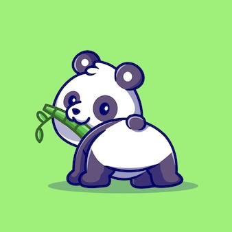 Cute baby panda jedzenie bambusa kreskówka wektor ikona ilustracja. zwierzęca natura ikona koncepcja białym tle premium wektor. płaski styl kreskówki