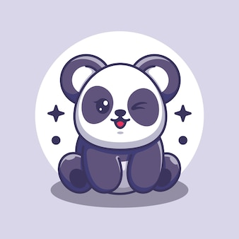 Cute baby panda siedzi kreskówka