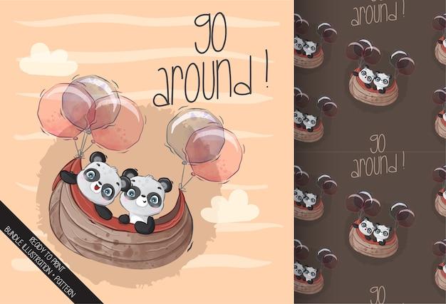 Cute baby panda szczęśliwy latający z balonem wzór