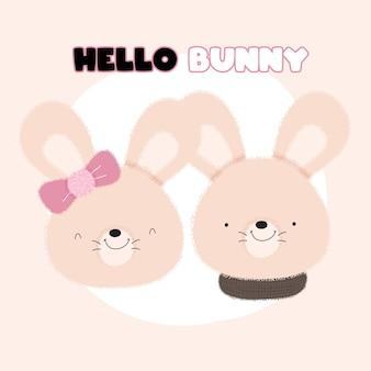 Cute baby para zwierząt królik