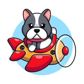 Cute baby pies jazdy samolot kreskówka