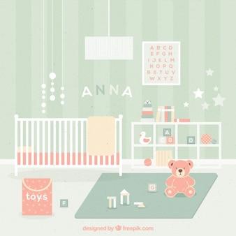 Cute baby pokój z zabawkami w pastelowych kolorach
