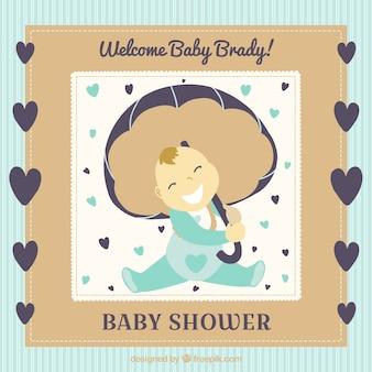 Cute baby prysznic karty z serca i cute baby