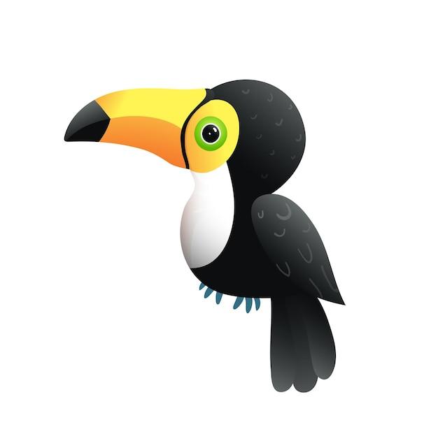 Cute baby ptak tukan na białym tle. urocza postać tukan dla dzieci wektor kreskówka.