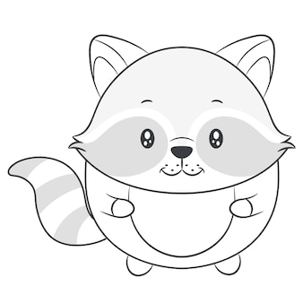 Cute baby racoon rysunek szkic do kolorowania