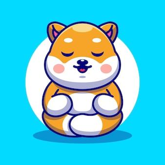 Cute baby shiba inu pies kreskówka medytacja
