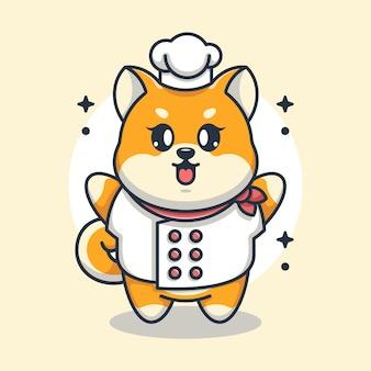 Cute Baby Shiba Inu Pies Kreskówka Szefa Kuchni Premium Wektorów