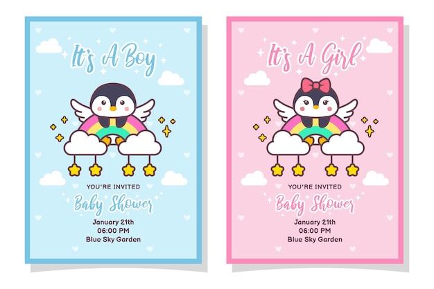 Cute baby shower chłopiec i dziewczynka karta zaproszenie z ptakiem pingwina