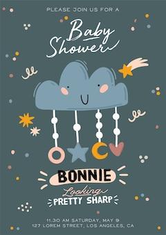 Cute baby shower ilustracja z chmurą