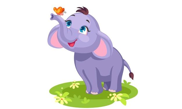Cute baby słoń i motyl rysunek szkic do pokolorowania