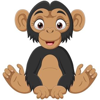 Cute baby szympans kreskówka siedzi