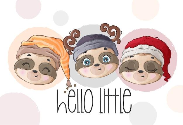 Cute Baby Twarz Lenistwo Wzór Premium Wektorów
