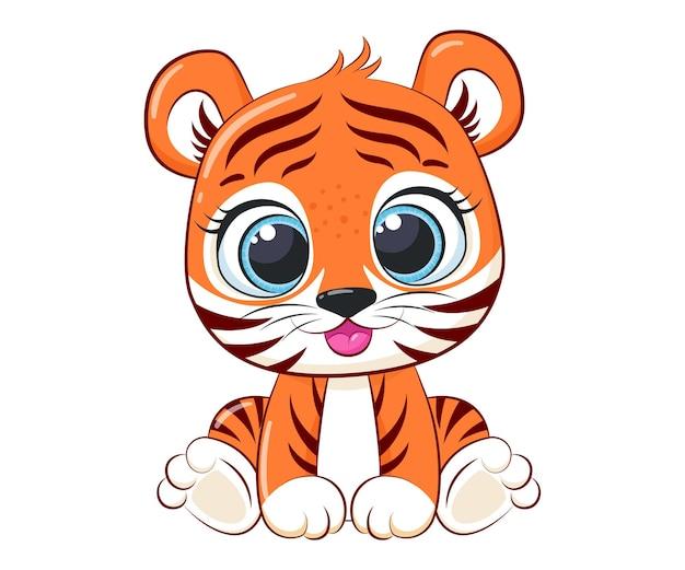 Cute baby tygrys ilustracja kreskówka wektor