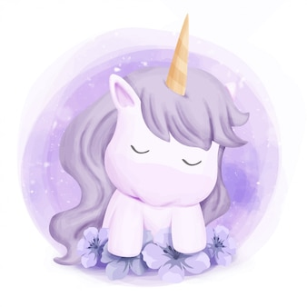 Cute baby unicorn feel sleepy