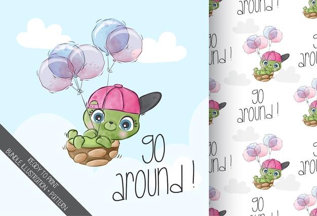 Cute baby żółw szczęśliwy latający wzór