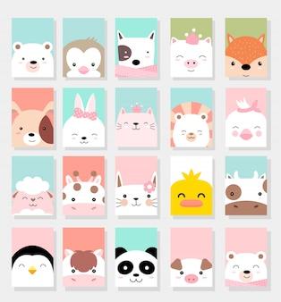 Cute baby zwierząt karty stylu cartoon