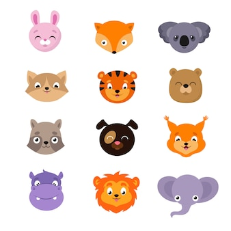 Cute baby zwierząt twarze wektor zestaw