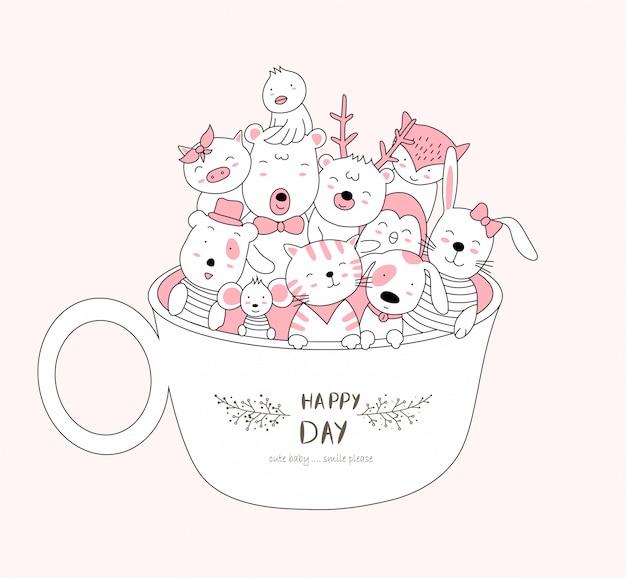 Cute baby zwierząt w pucharze. szkic stylu cartoon zwierząt