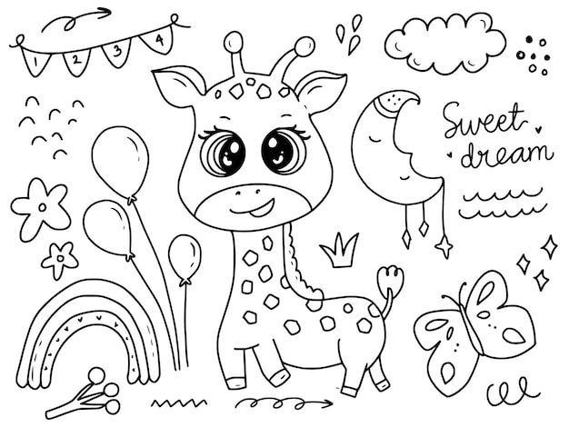 Cute baby żyrafa z balonami doodle rysunek kolorowanie strony ilustracja kreskówka