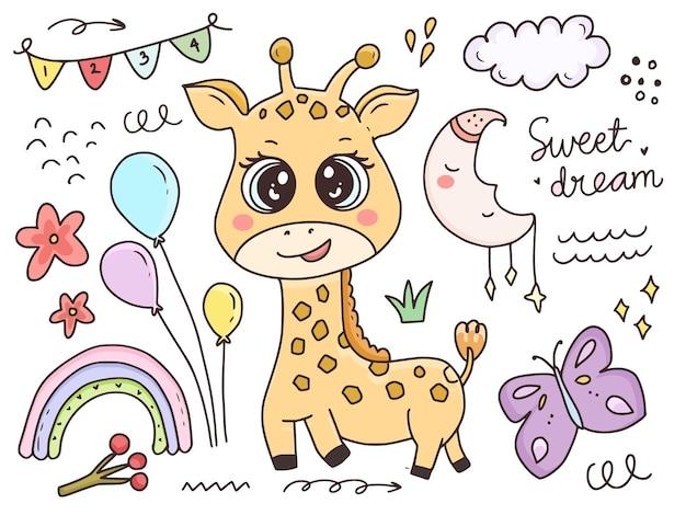 Cute baby żyrafa zestaw znaków kreskówka