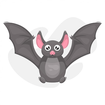 Cute bat mascot cartoon vector