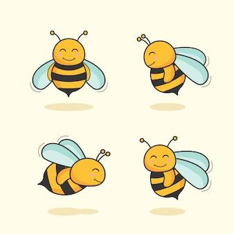Cute bee cartoon animal bee set