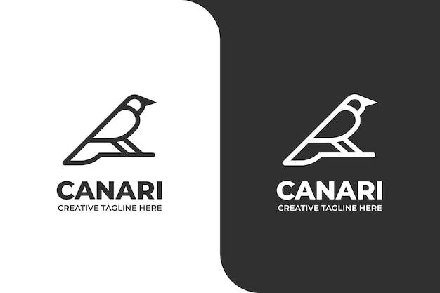 Cute bird canari monoline business logo