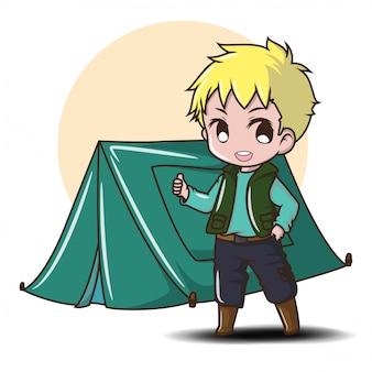 Cute boy camping. koncepcja obozu leśnego.
