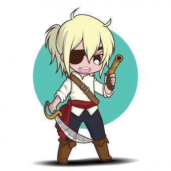Cute boy in pirate kostium kreskówka