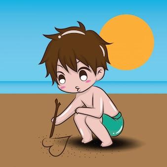 Cute boy na zawartość plaży latem.