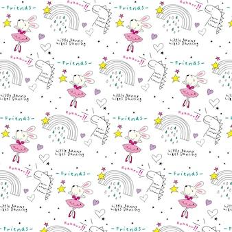 Cute bunny doodles wzór